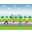 Running family Family sports Active family vector image vector image