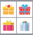 set of stylish gift boxes in deco wrapping paper vector image vector image