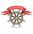 ship wheel and ribbon marine club emblem vector image vector image
