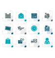 stylized post correspondence and office icons vector image