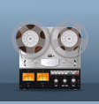 vintage analog reel tape recorder retro style vector image