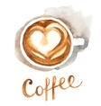 watercolor coffee cup vector image vector image