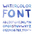 Watercolor hand drawn blue font