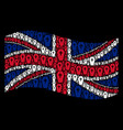 waving uk flag mosaic of coffin items vector image vector image