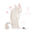 white cat and a mouse cartoon character vector image