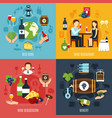 wine flat 2x2 icons set vector image vector image