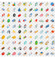 100 money icons set isometric 3d style vector image vector image