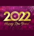 2022 golden glittering 3d fireworks purple vector image