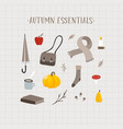 autumn essentials set cute hand drawn fall vector image vector image