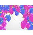 blue pink balloons confetti concept design vector image vector image