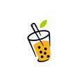 bubble drink tea logo icon vector image vector image