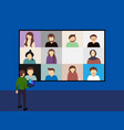 business video conference with bigger screen vector image vector image