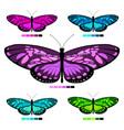 butterfly set 6 vector image vector image