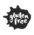 calligraphy gluten free label on a black inkblot vector image