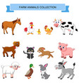 cartoon farm animals collection vector image
