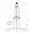 cartoon space rocket flying high and leaving vector image