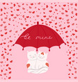 cats in love under an umbrella greeting card vector image