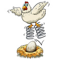 Chicken bouncing on spring over an egg vector image vector image