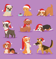 christmas dog cute cartoon puppy characters vector image vector image