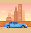 cityscape in autumn and car riding on road vector image