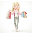 Cute blond shopaholic girl goes with paper bags in vector image