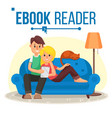 e-book reader e-learning couple at home vector image vector image