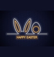 easter neon banner easter bunny with egg neon vector image