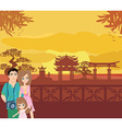 Family vacation in China vector image vector image