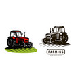 farm tractor logo or label agriculture farming vector image