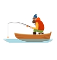 Fisherman in a boat on the white background vector image vector image