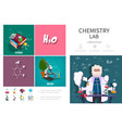 flat chemistry lab infographic concept vector image vector image