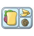 gamburger on tray icon cartoon style vector image vector image