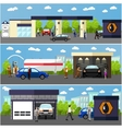 Gas station car wash and repair shop concept vector image vector image