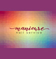 hand lettering manicure nail service on abstract vector image vector image