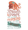 hand lettering strength and honor are her clothing vector image vector image