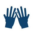 hands showing five fingers gesture silhouette icon vector image