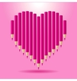 Heart of pink pencils background Valentines Day vector image