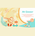 hot summer banner attributes vector image vector image