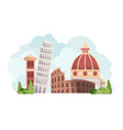 italy skyline with landmarks vector image