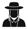 jewish man face icon simple style vector image