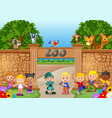 kids playing at the zoo with zookeeper and animal vector image vector image