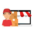 laptop with delivery worker and boxes vector image vector image