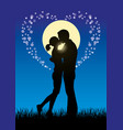 lovers kissing couple silhouette vector image