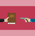 man hold holy bible and other hold gun vector image