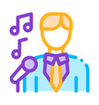 man in suit with microphone singing recital vector image vector image