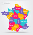 map france with name labels vector image