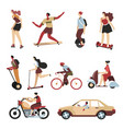 means transport in city cars and scooters vector image vector image