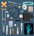 medical equipment tools and drugs set medicine vector image vector image