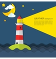 Modern weather background with lighthouse moon and vector image vector image