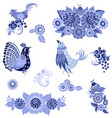 monochrome collection of fancy decorative birds vector image